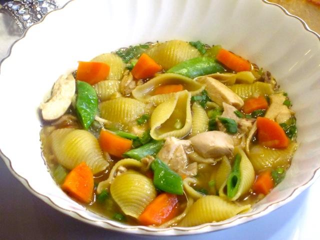 Chicken-Pasta Soup with Sugar Snap Peas_1547