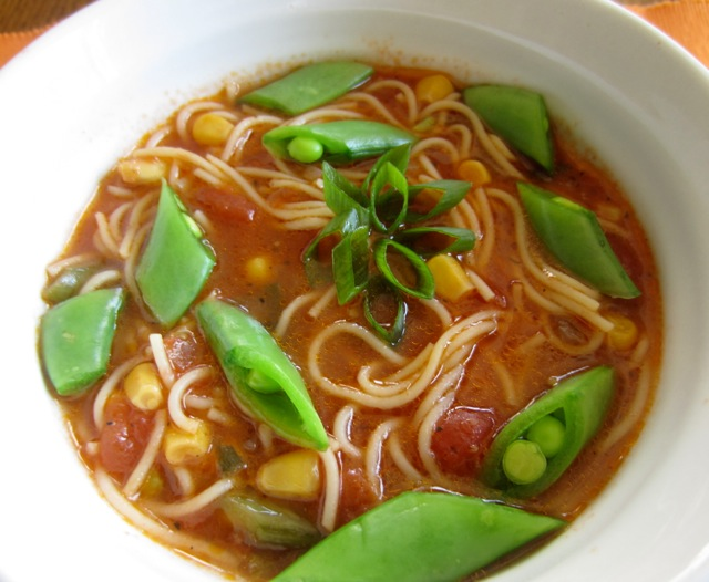 Tomato Corn Pasta Soup with Sugar Snap Peas_7675