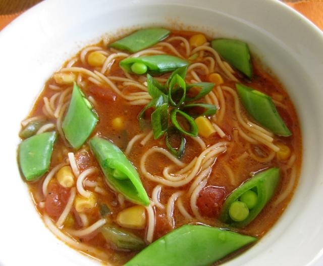 Tomato Corn Pasta Soup with Sugar Snap Peas_7675