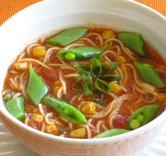 Tomato Corn Pasta Soup with Sugar Snap Peas_7682