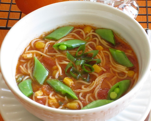 Tomato Corn Pasta Soup with Sugar Snap Peas_7686_2