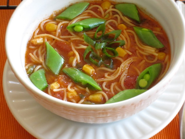 Tomato Corn Pasta Soup with Sugar Snap Peas_7688