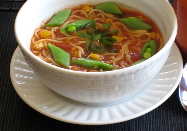 Tomato Corn Pasta Soup with Sugar Snap Peas_7709