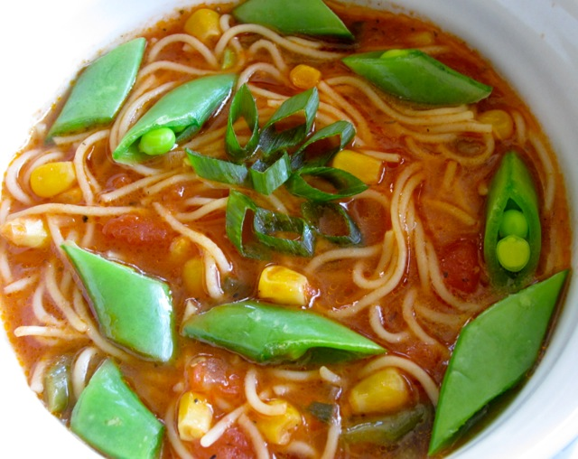 Tomato Corn Pasta Soup with Sugar Snap Peas_7715