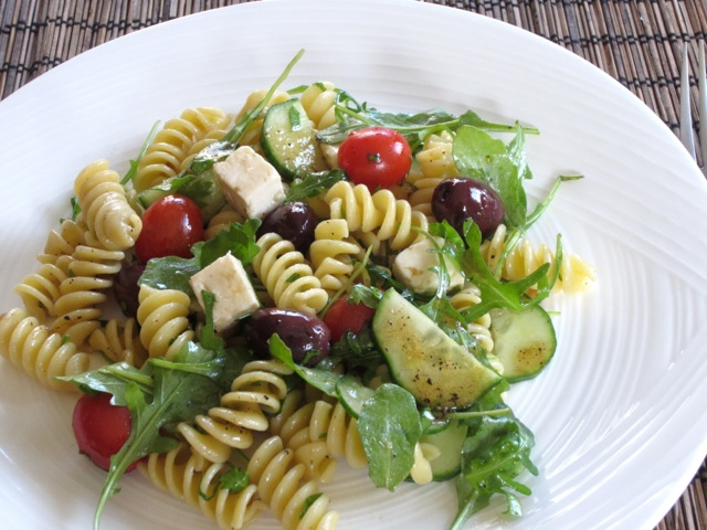 Pasta Salad with Tomatoes, Arugula and Feta myfavouritepastime.com_8655
