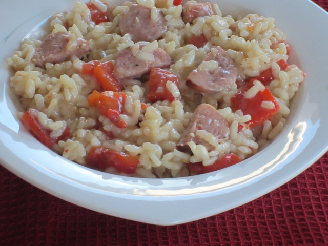 Risotto with Sausage and Roasted Bell Pepper myfavouritepastime.com