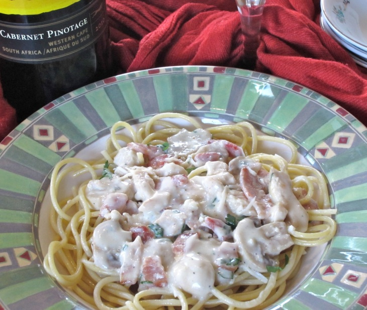 Fettuccine with Chicken and Mushroom Sauce myfavouritepastime.com