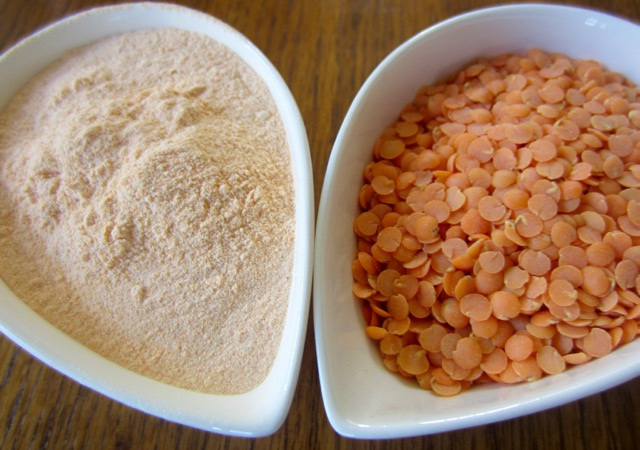 Organic Red Split Lentil Flour, Canada, on the left (Red Split Lentil, Right)