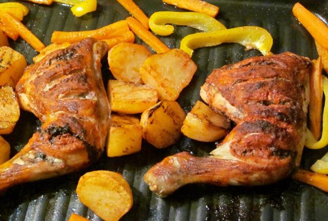 Tandoori Chicken Legs with Potatoes and Capsicum myfavouritepastime.com