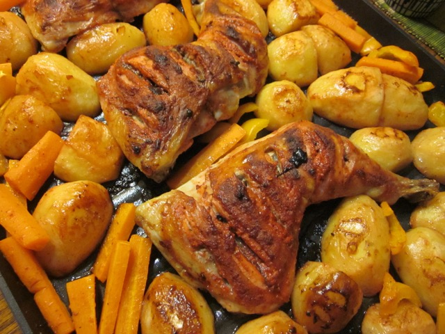 Tandoori Chicken Legs with Potatoes and Capsicum