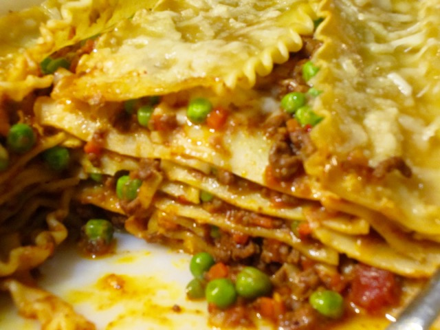 Simple Bolognese Lasagna with Peas myfavouritepastime.com