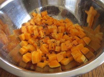 Toss 2 cups squash with olive oil, thyme and rosemary myfavouritepastime.com