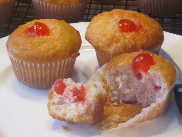 Cherry Lemon and Coconut Muffins myfavouritepastime.com