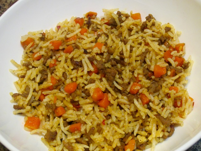 Rice with Ground Beef and Carrots myfavouritepastime.com