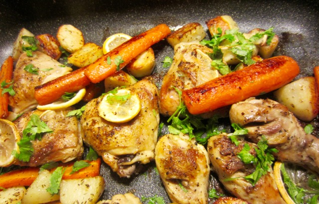 Lemon Chicken with Roasted Potatoes and Carrots myfavouritepastime.com