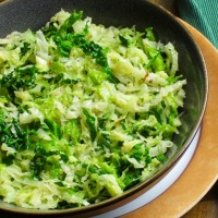Butter-Garlic sautéed Savoy Cabbage