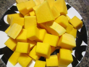 Dice the squash into even sized cubes