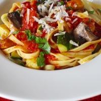 Tagliatelle with Zucchini Mushroom and Capsicum