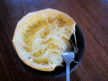 Spaghetti Squash with garlic butter thyme and olive oil myfavouritepastime.com