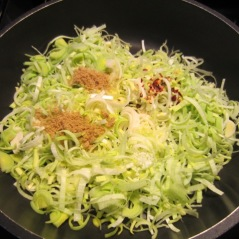 Cook bacon then cook onions and leek myfavouritepastime.com