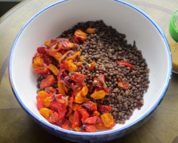 Lentil Salad with Roasted Garlic Tomato and Bell Pepper myfavouritepastime.com
