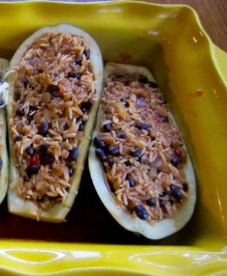 Stuffed Eggplant with Rice and Black beans myfavouritepastime.com