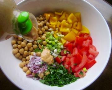 Chickpea Salad with Tahini Dressing myfavouritepastime.com
